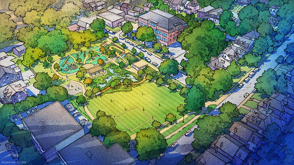 Rendering of the completed Wightman Park Improvement Project from an aerial view.