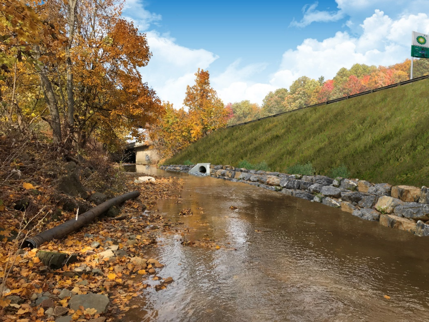 Rendering of a completed stream restoration near Nobles Lane and Ansonia Place