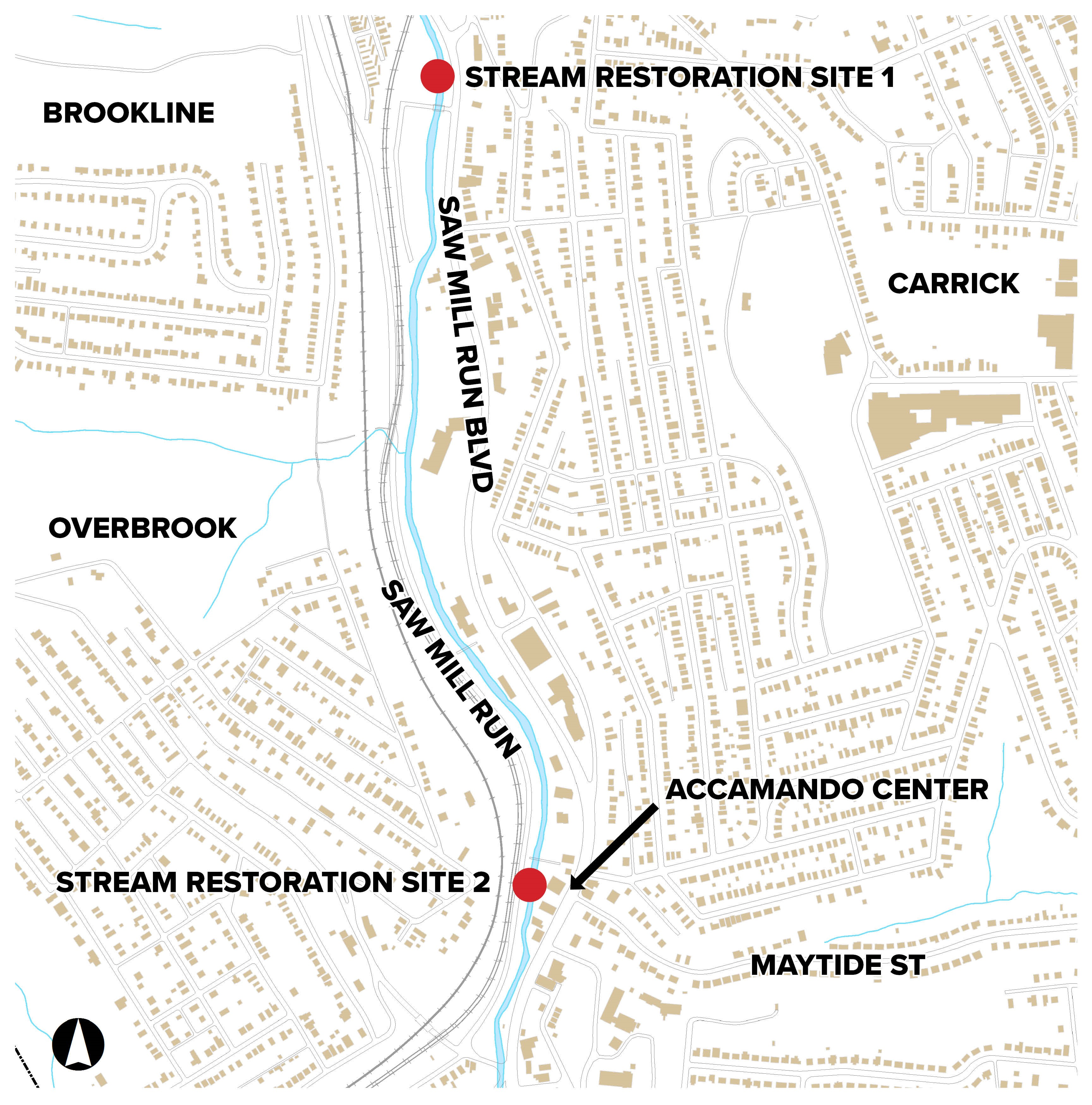 Map of the two Saw Mill Run Stream Restoration Project sites within Overbrook and Carrick