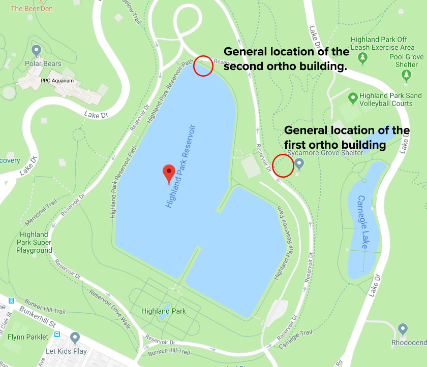 Map showing the general location of both orthophosphate facilities in Highland Park