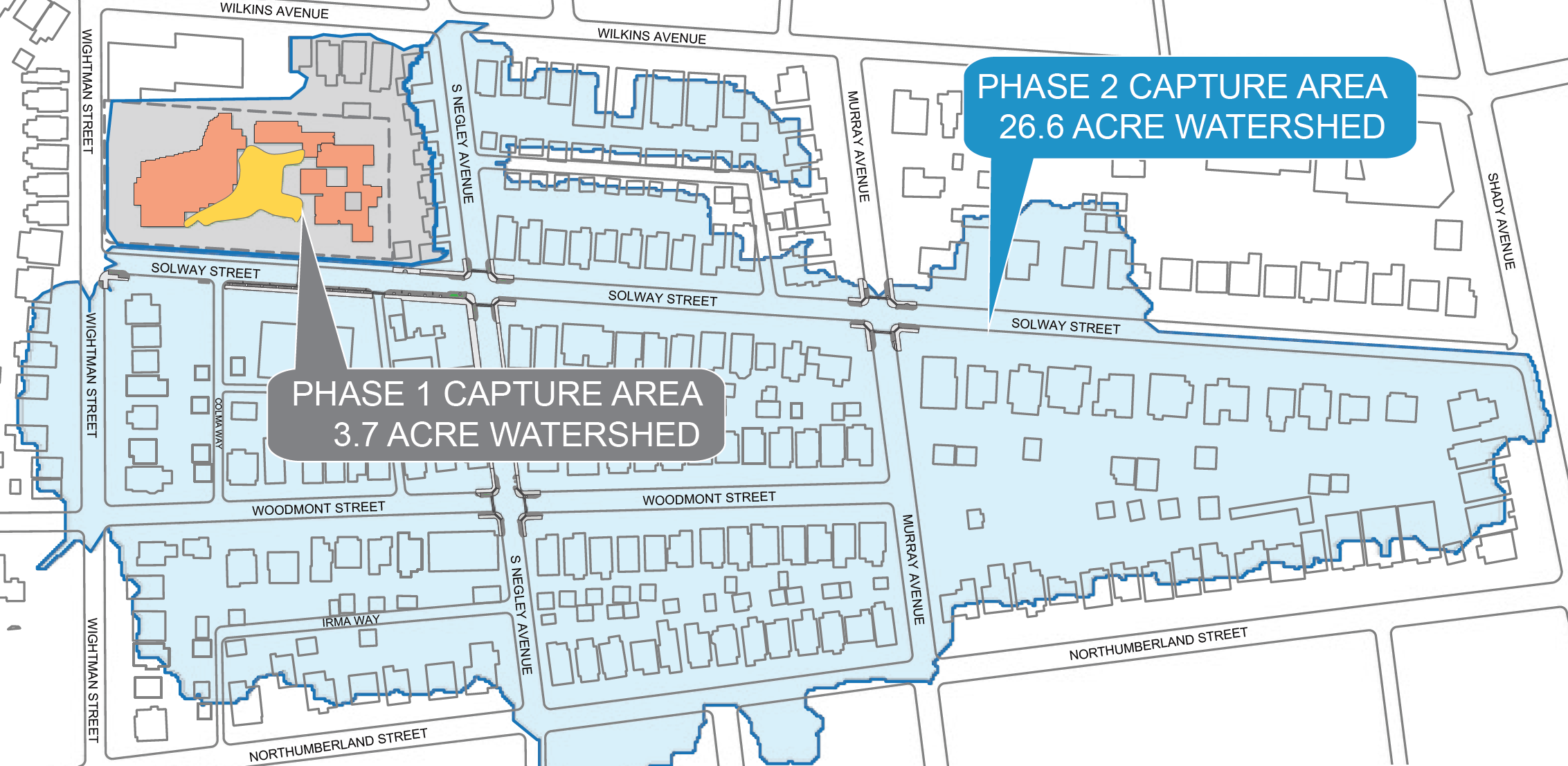 Map showing Wightman Park Phase II project and drainage area