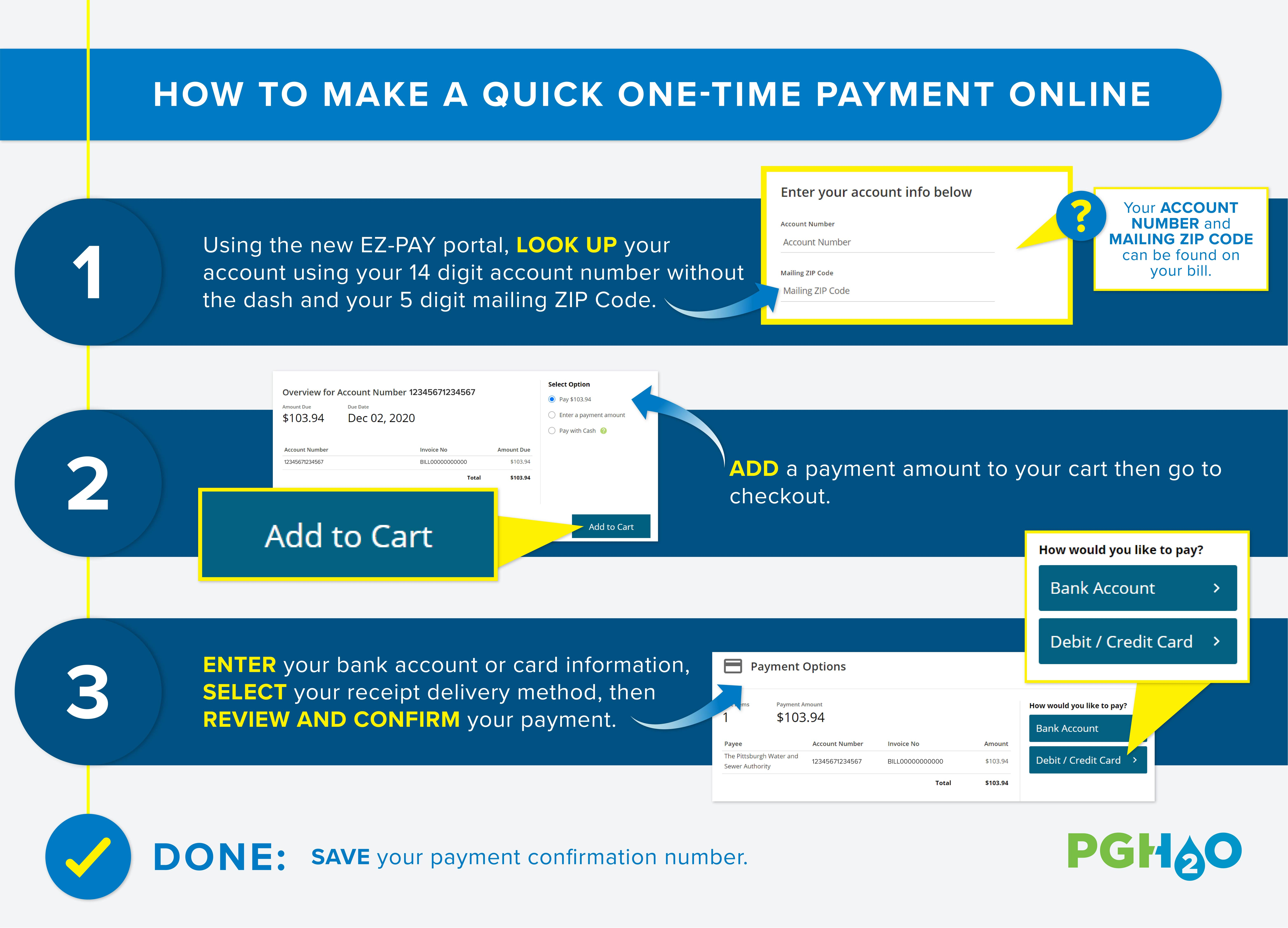 Infographic for How to Make a One-Time Payment Online. Using thenew EZ-PAY portal, look up your account using your 14 digit account number without the dash and your5 digitmailing ZIP Code. Add a payment amount to your cart then go to checkout. Enter yourbank account or card information, select your receipt delivery method, then review and confirm your payment. Done!Save your payment confirmation number.