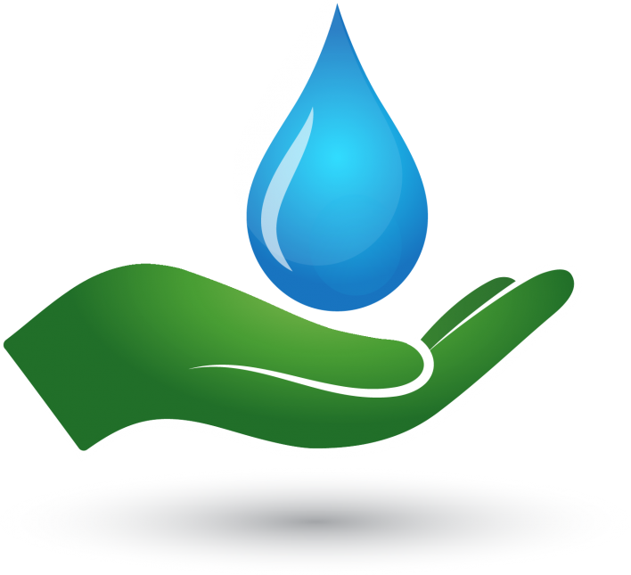 Drawing of a green hand cupping a blue water droplet