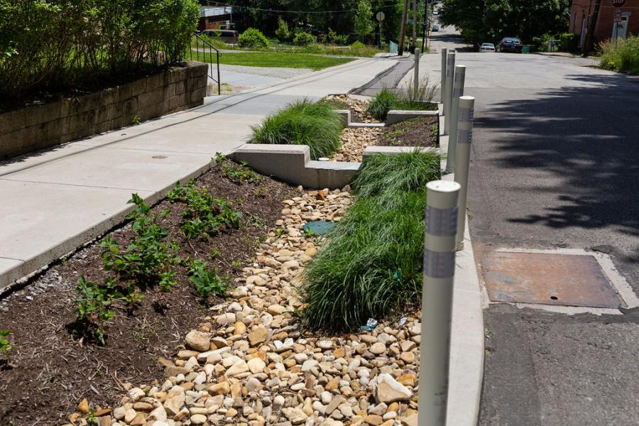 A bioretention area at the Hillcrest Stormwater Project in Pittsburgh's Garfield neighborhood.