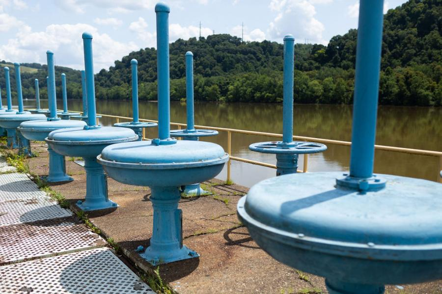 A scene from the Water Treatment Plant in Aspinwall overlooking the Allegheny River, the source of Pittsburgh's drinking water