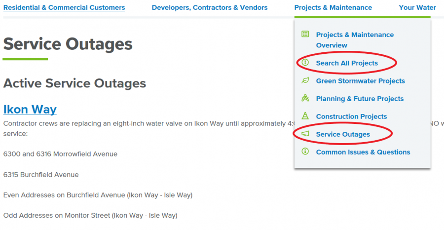 A screenshot of our service outages page
