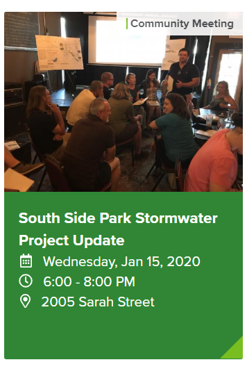 A screenshot of a link to an upcoming South Side Park Stormwater Project Update