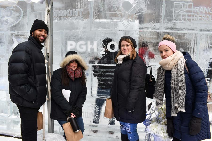 Team Pgh2o in the icehouse (Pictured from left to right: Compliance Analysts Reggie Brown and Sarah Viszneki, PUC Compliance Manager Brittany Schacht, and Public Affairs Associate Hali Hetz).