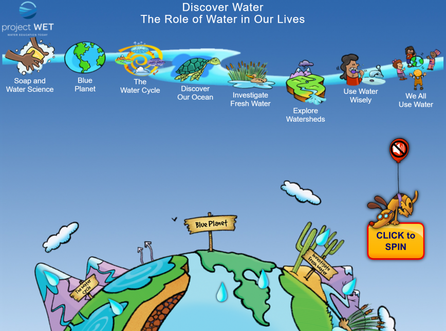 Screenshot of the DiscoverWater.org homepage