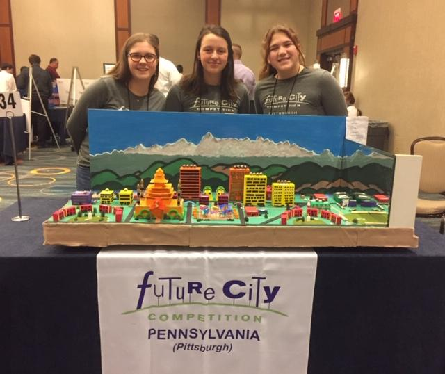 The Ellis Middle School's Future City Team photographed in Washington DC with their fictitious city