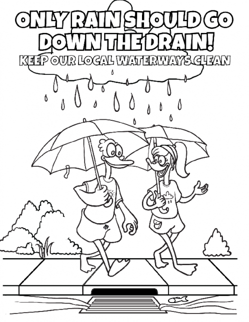 Coloring book page with two ducks holding umbrellas in the rain