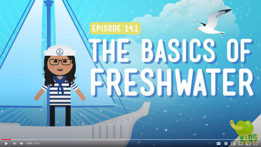 Screenshot of the Crash Course Kids Basics of Freshwater YouTube video