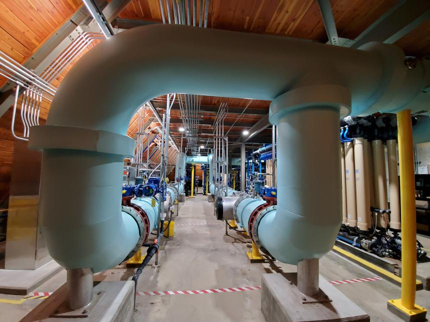 Water treated by ultraviolet (UV) light disinfection flows through these pipes and is distributed through the water system to thousands of taps throughout Pittsburgh.