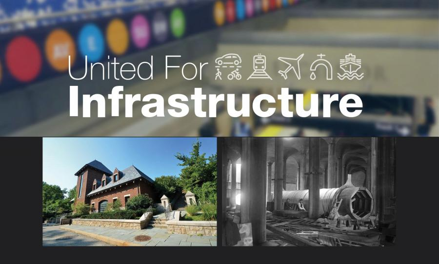United for Infrastructure logo and photos of PWSA water infrastructure