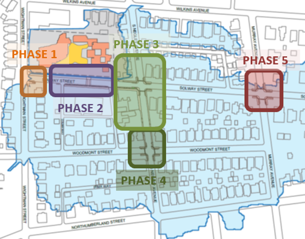 There are five phases to the Wightman Park Stormwater Project. It will begin at the Solway and Negley and continue eastward to the intersection of Murray and Solway.