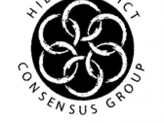 The logo for the Hill District Consensus Group: 6 white rings interlocked in a black circle