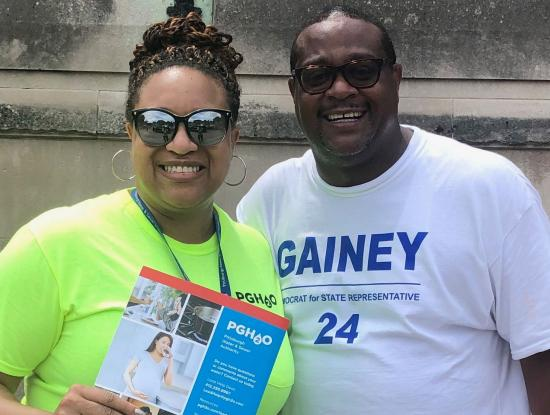 Rep. Ed Gainey with PWSA's Lead Help Customer Assistance Bianca Alton