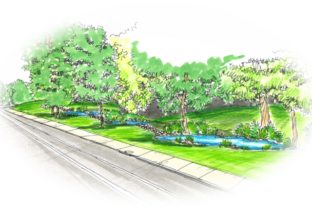 Colored sketch of a planned stormwater step-pool beside Mairdale Avenue