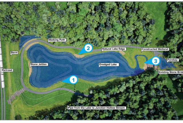 Image of Panther Hollow Lake showing various design components