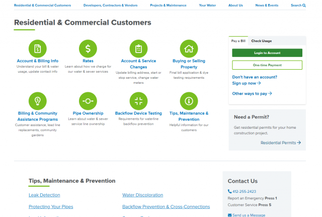 A screenshot of the Residential & Commercial Customers page
