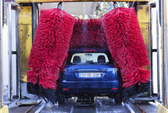 A car going through a carwash