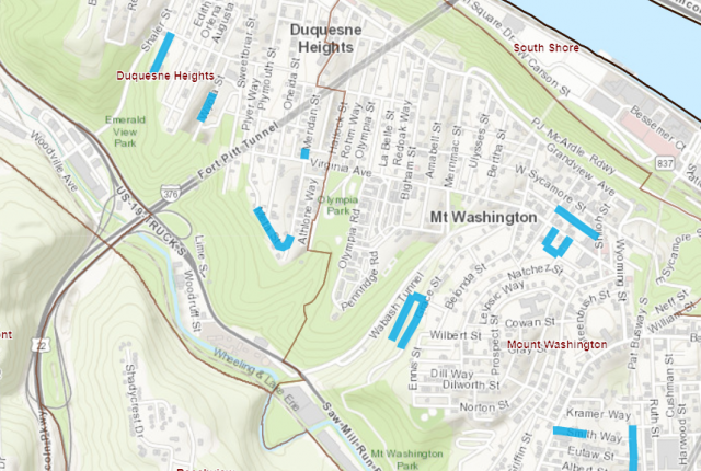 Work planned on individual streets throughout Mount Washington and Duquesne Heights.