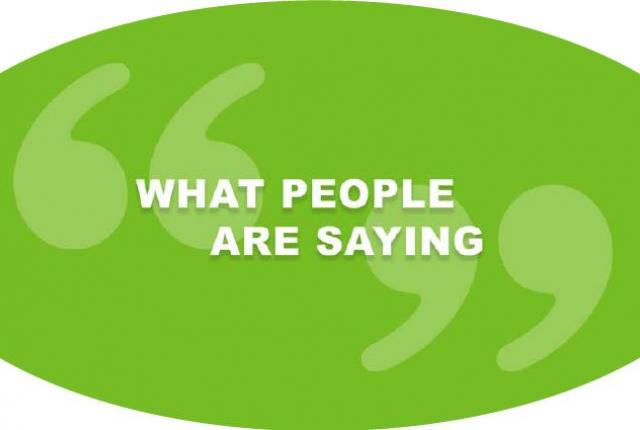 """What People are Saying"" graphic"