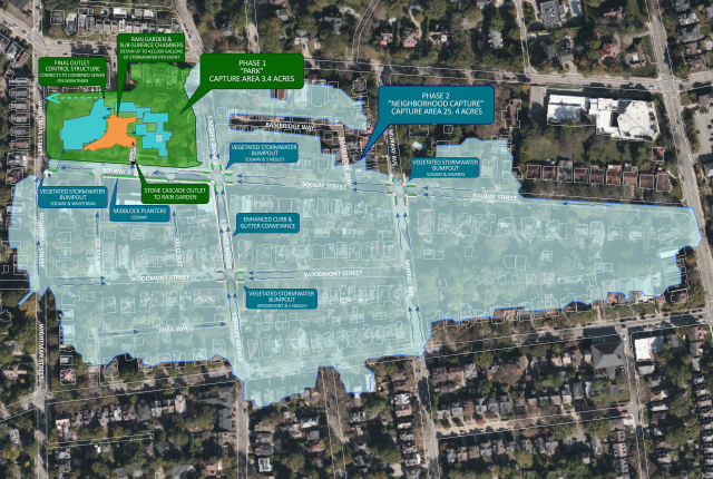 Map showing drainage area and stormwater improvements for second phase of the Wightman Park Stormwater project
