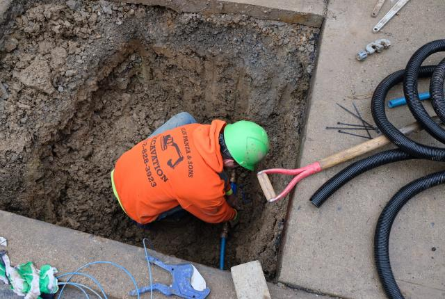 PWSA contractor replaces lead service line in a Pittsburgh neighborhood in early 2020.