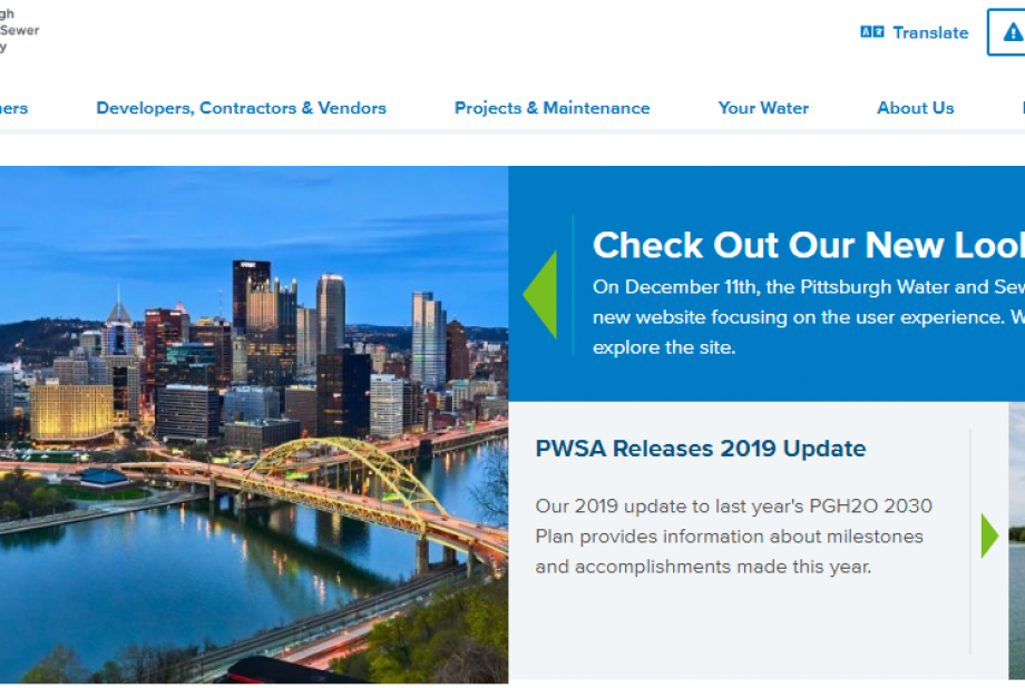 A screenshot of the pgh2o.com homepage